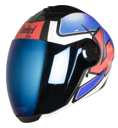 SBA-2 ROBOTICS MAT BLACK WITH BLUE AND WHITE ( Fitted With Clear Visor  Extra Blue Chrome Visor Free)