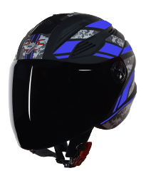SBA-6 Pixels Mat Black With Blue ( Fitted With Clear Visor  Extra Smoke Visor Free)