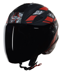 SBA-6 Pixels Mat Black With Red ( Fitted With Clear Visor  Extra Smoke Visor Free)
