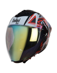 SBA-2 Skull Flag Mat Black With Red ( Fitted With Clear Visor  Extra Gold Night Vision Visor Free)