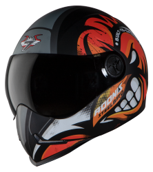Adonis Angry Bird Mat Black With Orange( Fitted With Clear Visor Extra Smoke Visor Free)