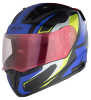 SA-1 Aviate Mat Black With Blue (Fitted With Clear Visor Extra Gold Night Vision Visor Free)