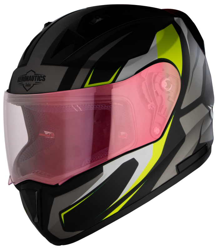 SA-1 Aviate Mat Black With Grey(Fitted With Clear Visor Extra Gold Night Vision Visor Free)