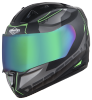 SA-1 RTW Mat Black With Green (Fitted With Clear Visor Extra Chrome Rainbow Visor Free)