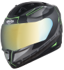SA-1 RTW Mat Black With Green (Fitted With Clear Visor Extra Chrome Gold Visor Free)
