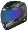 SA-1 RTW Mat Black With Green (Fitted With Clear Visor Extra Chrome Blue Visor Free)