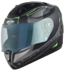 SA-1 RTW Mat Black With Green (Fitted With Clear Visor Extra Night Vision Blue Visor Free)