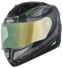 SA-1 RTW Mat Black With Green (Fitted With Clear Visor Extra Night Vision Green Visor Free)
