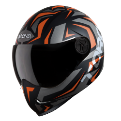 Adonis Torq Mat Black With Orange( Fitted With Clear Visor Extra Smoke Visor Free)