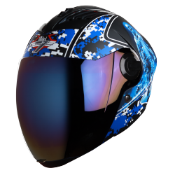 SBA-2 Marine Mat Black With Blue ( Fitted With Clear Visor  Extra Blue Chrome Visor Free)