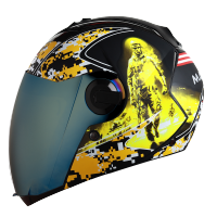 SBA-2 Marine Mat Black With Yellow Gold Chrome Visor