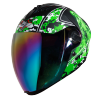 SBA-2 Marine Mat Black With Green Rainbow Chrome Visor
