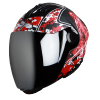 SBA-2 Marine Mat Black With Red Silver Chrome Visor