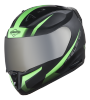 SA-1 WHIF Mat Black With Green (Fitted With Clear Visor Extra Chrome Silver Visor Free)