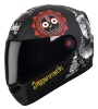 SBA-1 Jagannath Mat Black With White  ( Fitted With Clear Visor Extra Smoke Visor Free)