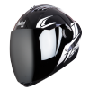 SBA-2 Moon Glossy Black With White (Fitted With Clear Visor Extra Chrome Silver Visor Free)