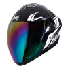 SBA-2 Moon Glossy Black With White (Fitted With Clear Visor Extra Chrome Rainbow Visor Free)