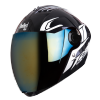 SBA-2 Moon Glossy Black With White (Fitted With Clear Visor Extra Chrome Gold Visor Free)