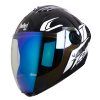 SBA-2 Moon Glossy Black With White (Fitted With Clear Visor Extra Night Vision Blue Visor Free)