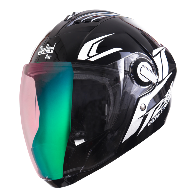 SBA-2 Moon Glossy Black With White (Fitted With Clear Visor Extra Night Vision Green Visor Free)