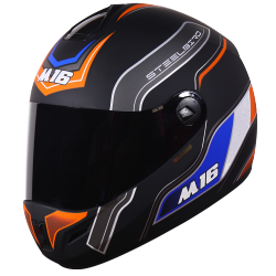 M16 Activate Mat Black With Orange( Fitted With Clear Visor Extra Smoke Visor Free)