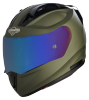 SA-1 Aeronautics Mat Battle Green With Anti-Fog Shield Blue Chrome Visor