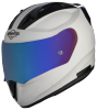 SA-1 Aeronautics Mat White With Anti-Fog Shield Blue Chrome Visor