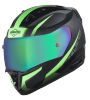 SA-1 WHIF Mat Black/Green With (Fitted With Clear Visor Extra Anti-Fog Shield Chrome Rainbow Visor Free)