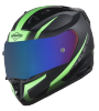 SA-1 WHIF Mat Black/Green (Fitted With Clear Extra Anti-Fog Shield Chrome Blue Visor Free)