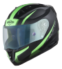 SA-1 WHIF Mat Black/Green (Fitted With Clear Extra Anti-Fog Shield Night Vision Blue Visor Free)