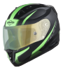 SA-1 WHIF Mat Black/Green (Fitted With Clear Visor Extra Anti-Fog Shield Green Night Vision Photochromic Visor Free)