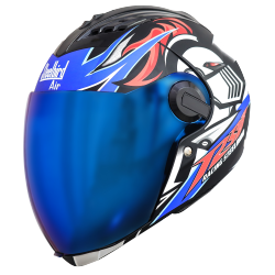 SBA-2 Skull Chrome Mat Black With Blue ( Fitted With Clear Visor Extra Blue Chrome Visor Free)