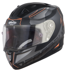 SA-1 RTW Mat Black/Orange With Anti-Fog Shield Clear Visor