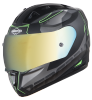 SA-1 RTW Mat Black/Green With Anti-Fog Shield Gold Chrome Visor(Fitted With Clear Visor Extra Gold Chrome Anti-Fog Shield Visor Free)