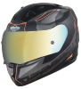 SA-1 RTW Mat Black/Orange With Anti-Fog Shield Gold Chrome Visor(Fitted With Clear Visor Extra Gold Chrome Anti-Fog Shield Visor Free)