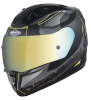 SA-1 RTW Mat Black/Yellow With Anti-Fog Shield Gold Chrome Visor(Fitted With Clear Visor Extra Gold Chrome Anti-Fog Shield Visor Free)