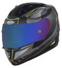SA-1 RTW Mat Black/Yellow With Anti-Fog Shield Blue Chrome Visor(Fitted With Clear Visor Extra Blue Chrome Anti-Fog Shield Visor Free)