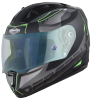 SA-1 RTW Mat Black/Green With Anti-Fog Shield Blue Night Vision Visor(Fitted With Clear Visor Extra Blue Night Vision Anti-Fog Shield Visor Free)
