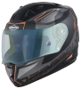 SA-1 RTW Mat Black/Orange With Anti-Fog Shield Blue Night Vision Visor(Fitted With Clear Visor Extra Blue Night Vision Anti-Fog Shield Visor Free)