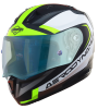 SA-1 Aerodynamics Mat Black/Neon With Anti-Fog Shield Blue Night Vision Visor (Fitted With Clear Visor Extra Blue Night Vision Anti-Fog Shield Visor Free)