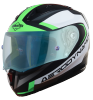 SA-1 Aerodynamics Mat Black/Green With Anti-Fog Shield Blue Night Vision Visor (Fitted With Clear Visor Extra Blue Night Vision Anti-Fog Shield Visor Free)