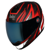SBA-1 THRYL Mat Black With Red (With Chrome Blue Visor)