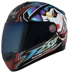 SBA-1 VIVID GLOW IN THE DARK MAT BLACK WITH BLUE ( Fitted With Clear Visor Extra Blue Chrome Visor Free)
