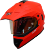 SB-42 Turf Single Visor Glossy Fluo Red With Anti-Fog Shield Night Vision Gold Visor (With Extra Clear Visor)