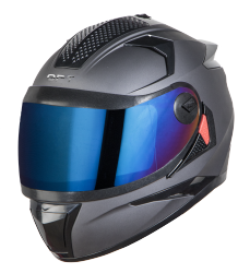 SBH-17 OPT MAT AXIS GREY WITH CHROME BLUE VISOR (WITH EXTRA FREE CABLE LOCK AND CLEAR VISOR)