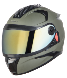SBH-17 OPT MAT BATTLE GREEN WITH CHROME GOLD VISOR (WITH EXTRA FREE CABLE LOCK AND CLEAR VISOR)