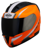SA-1 WHIF GLOSSY FLUO ORANGE  WITH WHITE (WITH EXTRA FREE CLEAR VISOR)
