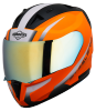 SA-1 WHIF GLOSSY FLUO ORANGE WITH WHITE CHROME GOLD VISOR (WITH EXTRA FREE CLEAR VISOR)