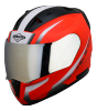 SA-1 WHIF GLOSSY FLUO RED WITH WHITE CHROME SILVER VISOR (WITH EXTRA FREE CLEAR VISOR)