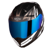 SA-1 BOOSTER MAT BLACK WITH GREY - CHROME BLUE VISOR (WITH EXTRA CLEAR VISOR)